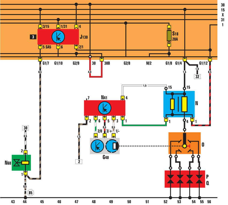 Гольф 2 схема проводов инжектора 1.3