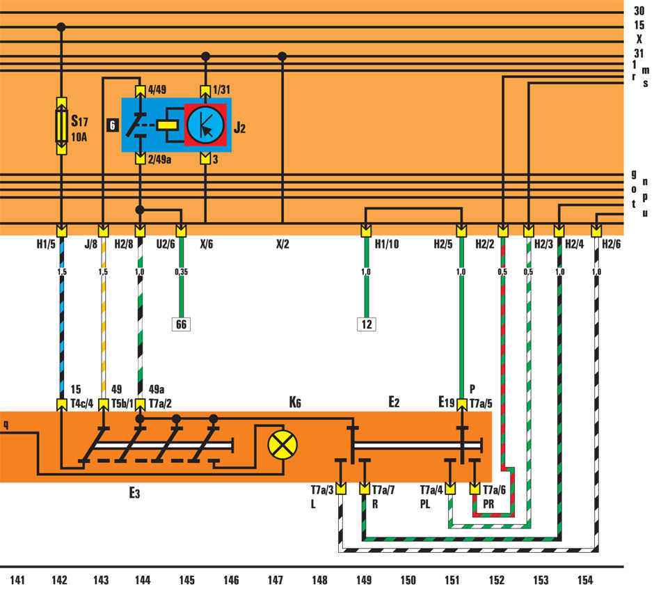 vw golf 1997 схема вентилятора радиатора