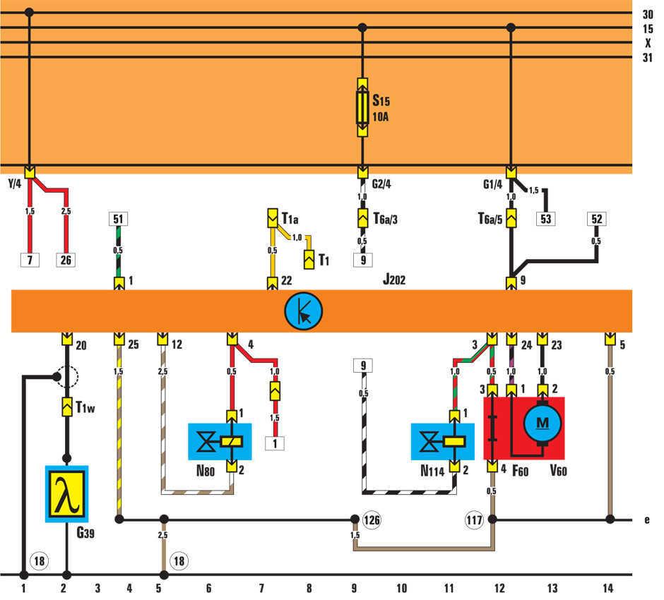 Vw golf 3 электрические схемы