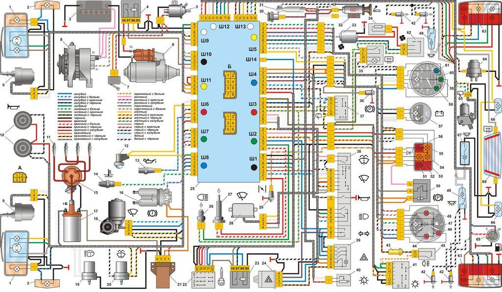 Ваз 2105 схема проводки