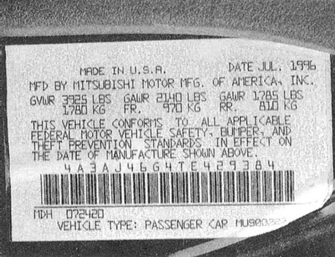 Идентификационные номера автомобиля Mitsubishi Galant