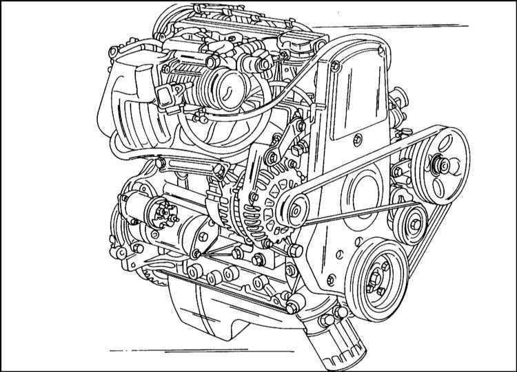 Вид двигателя 2.0 л со стороны